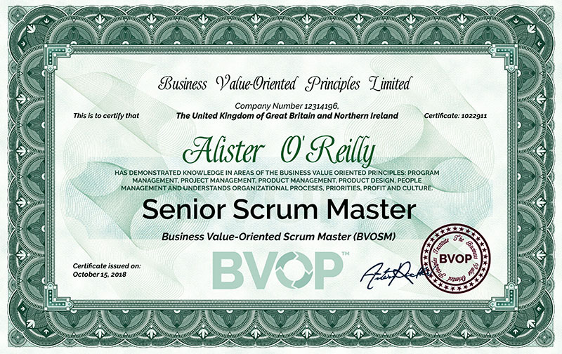 The BVOP Scrum Master certification is for senior professionals